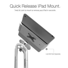 Lock Belt for iPad and iPad Mini integrates our patented X-lock for seamless mounting to Wallee and Proper POS hardware. An integrated Kensington Lock anchor point right on the Belt delivers peace-of-mind security.